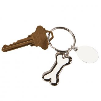 Dog Bone Key chain w/Oval Engraving Plate, 2.75