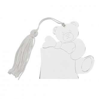 Teddy Bear Ornament with White Tassel, 3.25