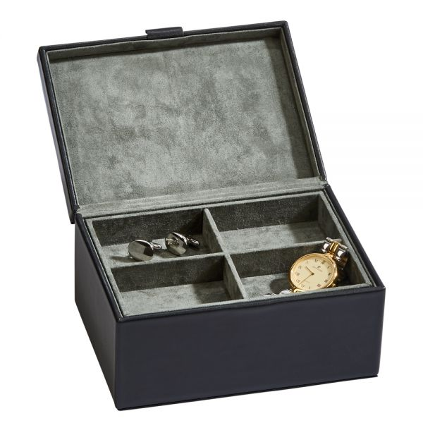 Black Leather Box w/Lift Out Tray 7