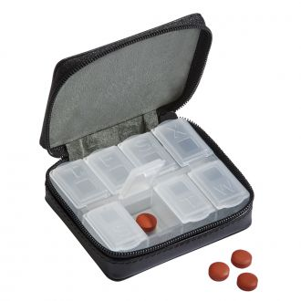 Black Leather Zippered Pill Case 3