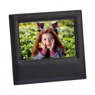 Black Leather Frame Holds 4