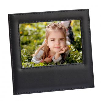 Black Leather Frame Holds 5