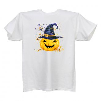 Pumpkin with Hat - Ladies' White T - LARGE