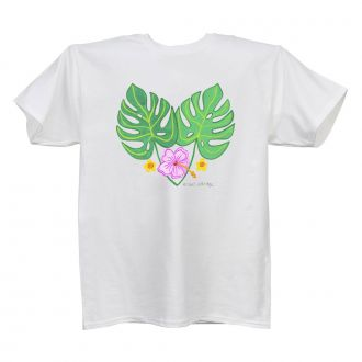 2 Tropical Leaves and 3 Flowers - White T Shirt - LARGE