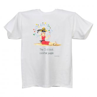 5 O'Clock Cocktail Juggle - Ladies' White T - LARGE