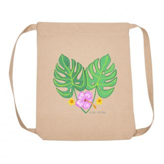 2 Tropical Leaves and 3 Flowers - Back Pack