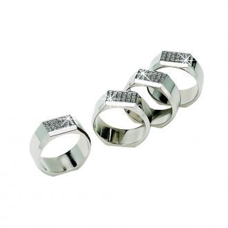 SET OF 4 GLITTLER GALORE NAPKIN RINGS