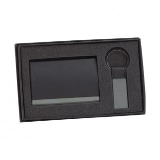 BLACK LEATHERETTE CARD CASE & KEY CHAIN SET