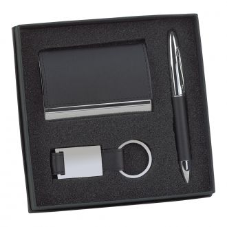 BLACK LEATHERETTE CARD CASE, PEN & KEY CHAIN SET
