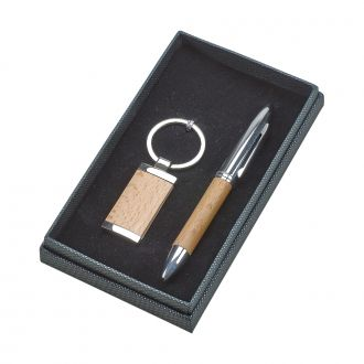 WOOD TRIMMED PEN AND KEY CHAIN SET