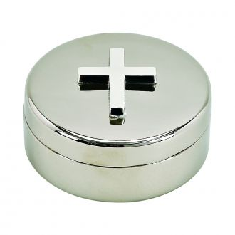 ROUND COVERED BOX WITH CROSS ON LID