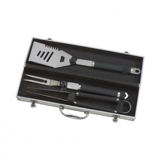3 PIECE BAR-B-CUE SET IN AN ALUMINUM CASE