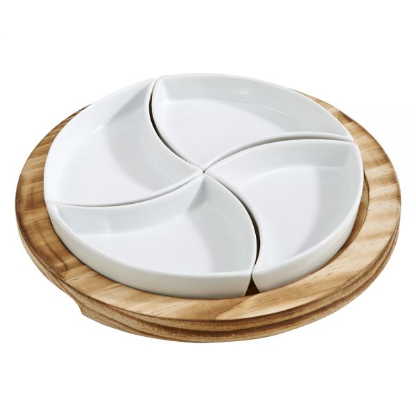 5 PIECE ROUND SERVING SET WITH 4 SWIRL SECTION DISHES ON A WOOD HOLDER