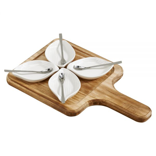 9 PIECE PETALS SET WITH PETAL SHAPED DISHES (4) AND SPOONS (4) ON A WOOD HOLDER