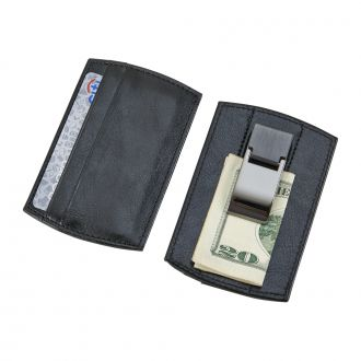 BLACK LEATHERETTE MONEY CLIP & CARD HOLDER
