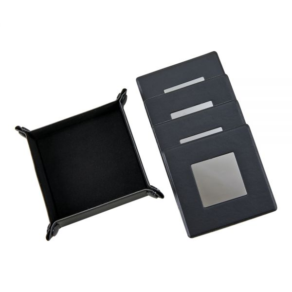 BLACK LEATHERETTE 5 PC COASTER SET