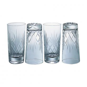 SET OF 4 LEAD CRYSTAL HI-BALL GLASSES WITH MEDALLION PATTERN