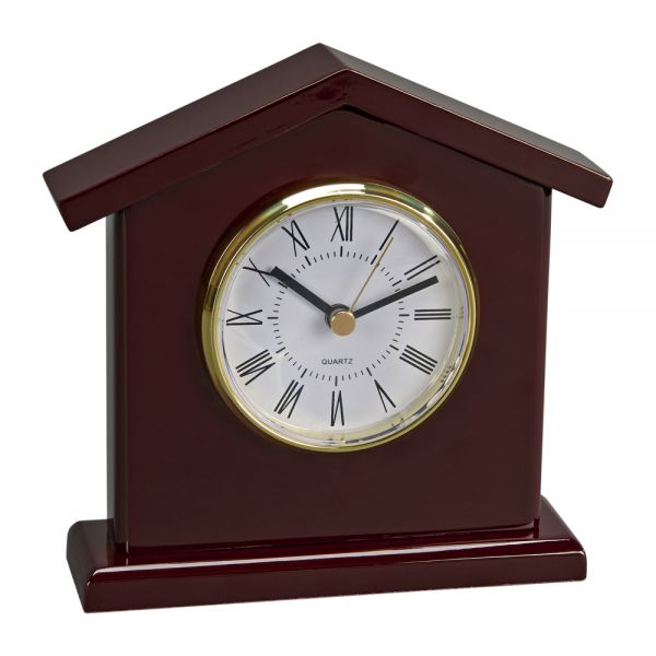 WOOD TOWER SHAPED CLOCK WITH PIANO FINISH