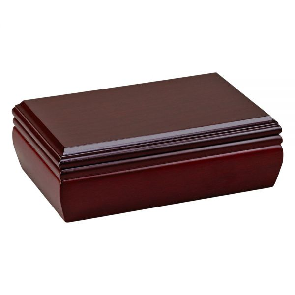ROSEWOOD FINISH RECTANGULAR WOOD HINGED JEWELRY BOX