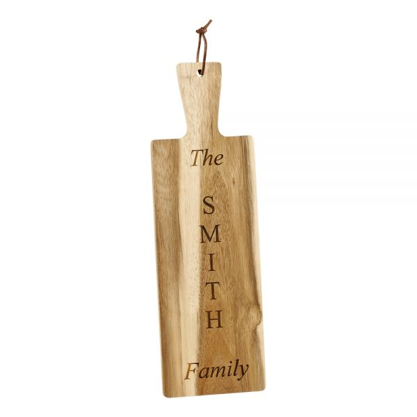 ACACIA WOOD FAMILY NAME BREAD BOARD