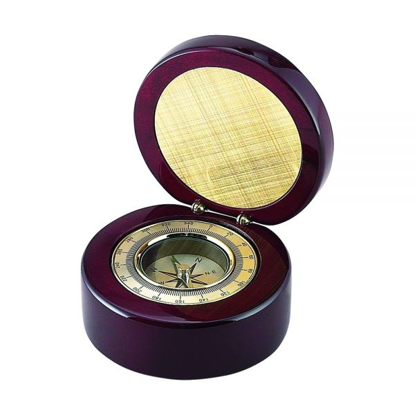 ROUND WOOD BOX WITH COMPASS IN PIANO FINISH