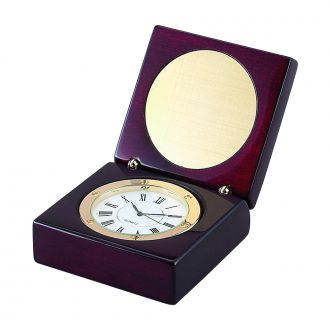 SQUARE WOOD BOX WITH CLOCK IN PIANO FINISH