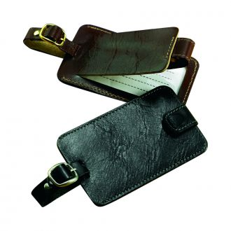 BLACK LEATHER LUGGAGE TAG WITH SNAP CLOSURE