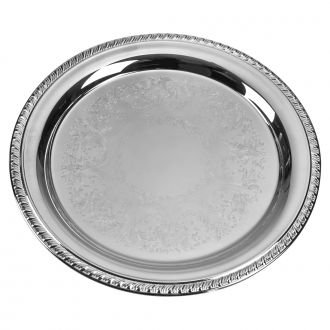 EMBOSSED SILVERPLATED TRAY WITH GADROON STYLE BORDER, 10