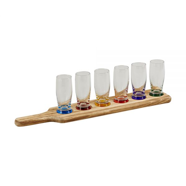 7 PIECE TAVERN TASTING FLIGHT WITH 6 GLASSES WITH COLORED BASES & A WOOD PADDLE RACK