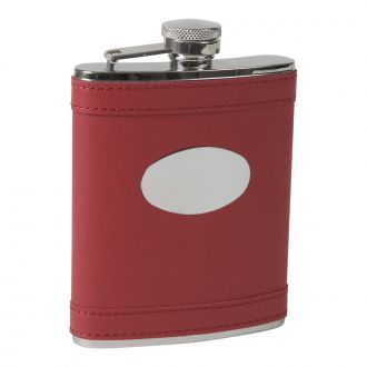 APPLE RED LEATHERETTE FLASK