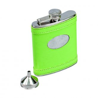 LIME GREEN LEATHERETTE FLASK