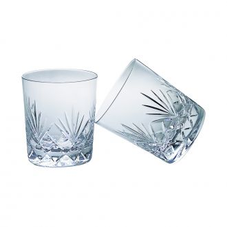 SET OF 4 LEAD CRYSTAL DOUBLE OLD FASHION GLASSES WITH MEDALLION PATTERN