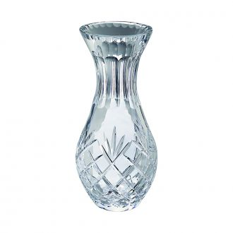LEAD CRYSTAL CARAFE STYLE VASE WITH MEDALLION PATTERN