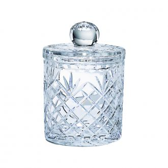 LEAD CRYSTAL BISCUIT BARREL WITH MEDALLION PATTERN, 7.5