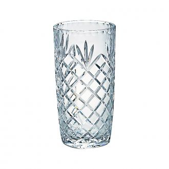 LEAD CRYSTAL VASE WITH MEDALLION PATTERN, 7.75