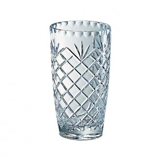 LEAD CRYSTAL VASE WITH MEDALLION PATTERN, 8.5