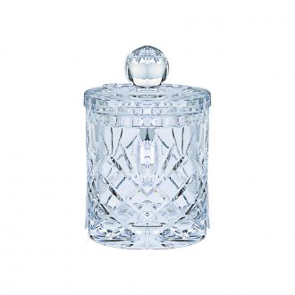 LEAD CRYSTAL BISCUIT BARREL WITH MEDALLION PATTERN, 6.5