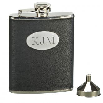 BLACK LEATHERETTE FLASK