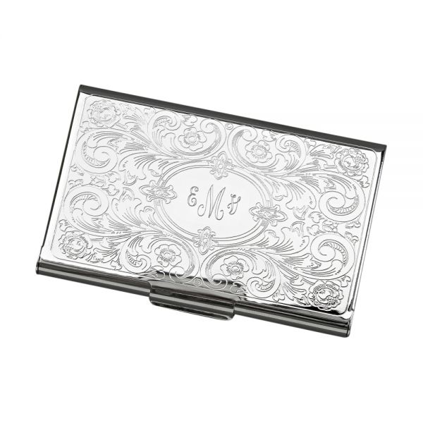 CARD CASE WITH EMBOSSED SCROLL COVER