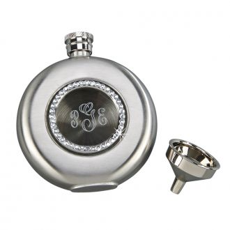 ROUND FLASK WITH CRYSTALS & WINDOW