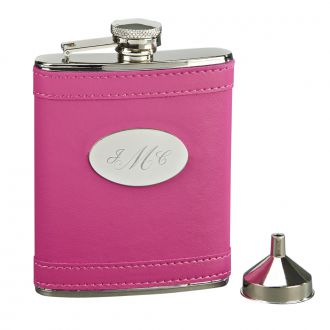 HOT PINK LEATHERETTE FLASK