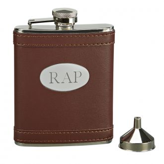 BROWN LEATHERETTE FLASK