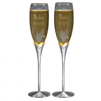 GLASS FLUTES WITH SATIN STEMS WITH CRYSTALS