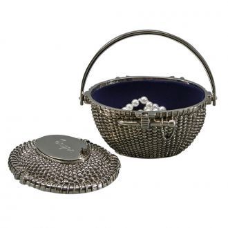 FAUX NANTUCKET BASKET BOX WITH LIFT OFF LID