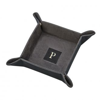 BLACK LEATHERETTE SNAP TRAY