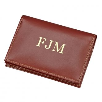 BROWN LEATHER EXPANDING CARD CASE
