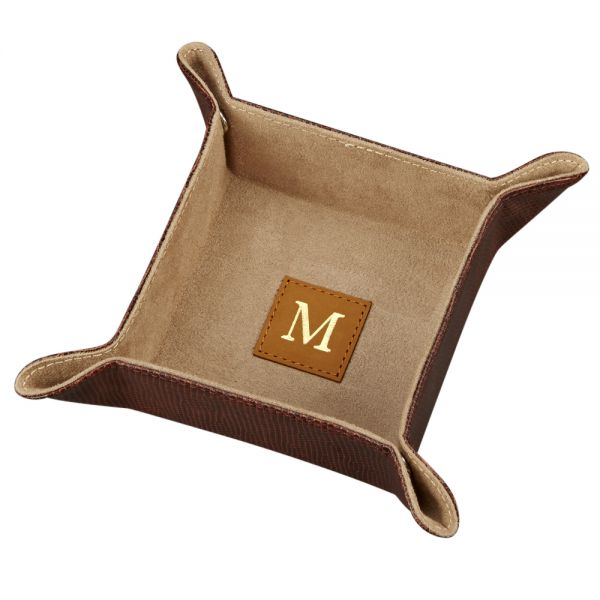 BROWN LEATHERETTE SNAP TRAY