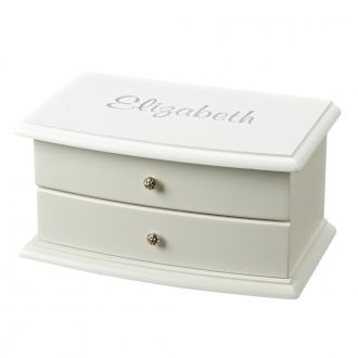 BLANCA WHITE WOOD BOX WITH 2 COMPARTMENTS