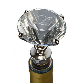 CLEAR SOLITAIRE DIAMOND SHAPED BOTTLE STOPPER