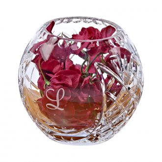 LEAD CRYSTAL ROSE BOWL WITH MEDALLION PATTERN